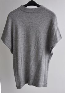 Grey Marle Short Sleeve Loose Knit Women Pullover Sweater pictures & photos