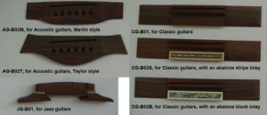 Wooden Bridges for Acoustic, Classic and Jazz Guitars