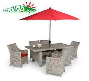 Outdoor Rattan Furniture, 8PCS White Rectangular Garden Wicker Dining Set
