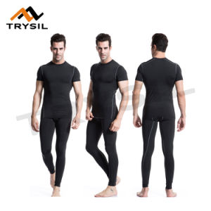 Men Gym Wear Tight Fitness Sportswear Top and Pants Compression Clothes pictures & photos