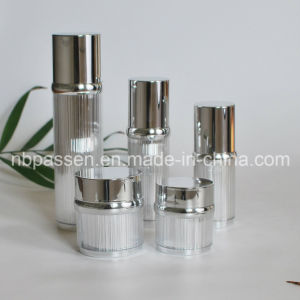 Glossy Silver Acrylic Cream Jar Lotion Bottle for Cosmetics (PPC-NEW-100) pictures & photos