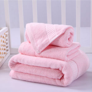 100% Bamboo Pink Bath Towel Set Dobby Bath Towel pictures & photos