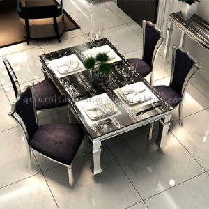 874# Factory Price Marble Dining Table with Stainless Steel Frame pictures & photos