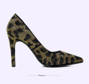 Lady Pointed-Toe High Heels Women Leopard-Print Leather Crystal Dress Shoes pictures & photos