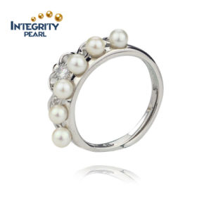 925 Sterling Freshwater Pearl Ring 3.5-4mm AA Round Small Pearl Rings