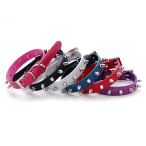 Metal Spike Quality Plain Pattern PU Leather Dog Collars pictures & photos