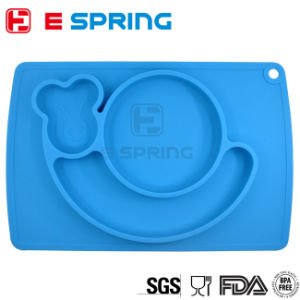 Food Grade One Piece Silicone Place Mat Kids Divided Plate