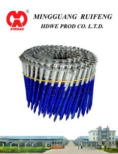 "Round Head, Flat Type, 3-1/4"" X. 113"", Screw Shank, Bright, 15 Degree Wire Collated Framming Nails, Coil Nails pictures & photos"