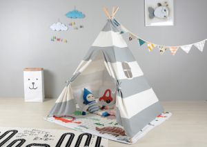 Grey White Strap Teepee Children Indoor Playing Tent (MW6035) pictures & photos