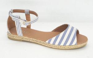 Women′s Comfort Canvas Ankle Strap Espadrille Flat Sandal