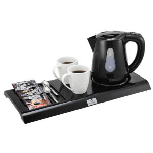 Black 0.8L Rotation and Cordless Plastic Electric Kettle with Tray pictures & photos
