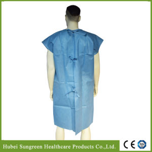 Disposable SMS Blue Non-Woven Patient Gown with No Sleeves pictures & photos