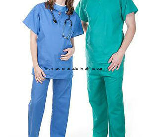 Hospital Reusable Washable Cotton Patient Medical Scrub Suit pictures & photos