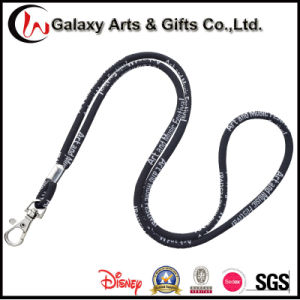 5mm Polyester Black Jacquard Logo Rope Round Woven Lanyard pictures & photos