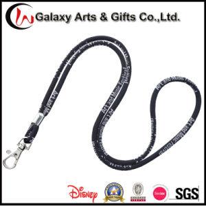 5mm Polyester Black Jacquard Logo Rope Round Woven Lanyard