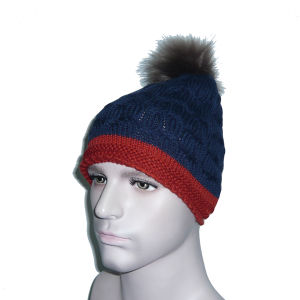Stitching Color Knitted Hat with Ball pictures & photos