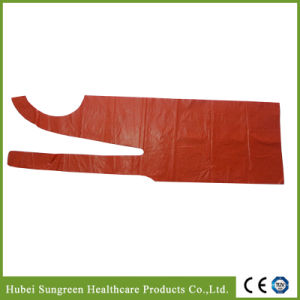 Disposable Kitchen Polyethylene Apron, PE Apron in Red Color pictures & photos