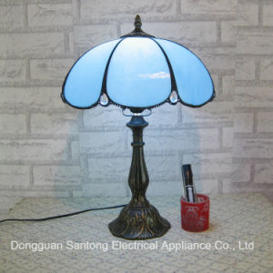 blue Glass Tiffany Style Resin Base Lamp Wholesale Tiffany Table Lamp pictures & photos