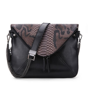 Snake Skin Pattern Black Artificial Leather Handbag