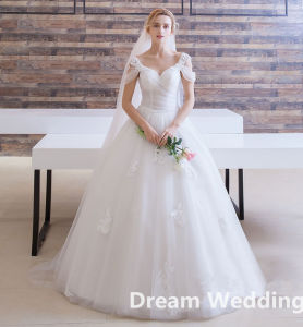 2017 Cap Sleeve Tulle White Pleat Ball Gown Wedding Dress with Applique pictures & photos