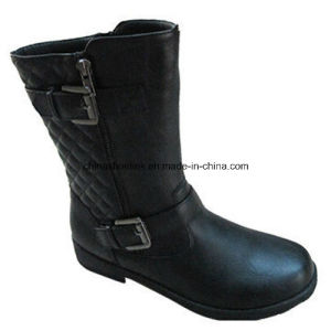 China Women Winter MID-Cut Boots Supplier PU Leather pictures & photos