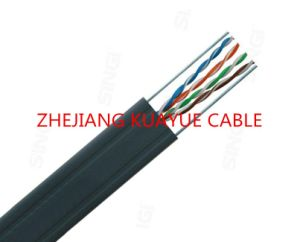 Outdoor Cable 4 Pair UTP Cat5e 24AWG+2c Steel Wire /Communication Cable pictures & photos