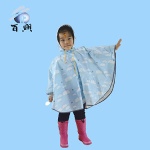 Promotion Kid′s Printing Non-Disposable Plastic Rain Poncho pictures & photos