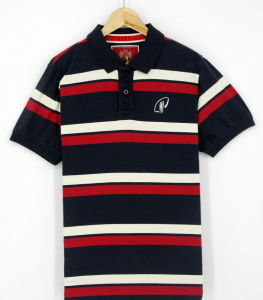 2017 Custom Men Cotton Red Yarn Dye Stripe Peached Short Sleeve Polo Shirts Clothes (S8145)