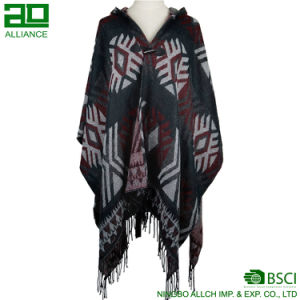 Winter Women Hoodie Capes with Tassels Elegant Ladies Shawls pictures & photos