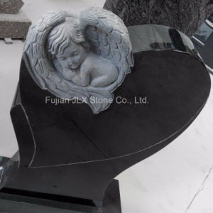 Shanxi Black Granite Cherub Baby Angel Headstones pictures & photos