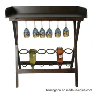 Kitchen Wine Display Rack with Glass Holder Wine Table for Home Deco pictures & photos