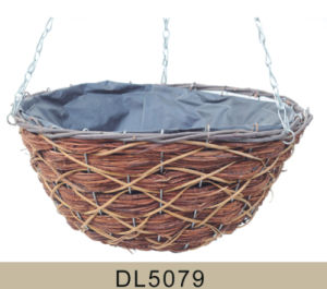 Cone Shaped Wooden Skin and Rattan Hanging Flower Basket pictures & photos