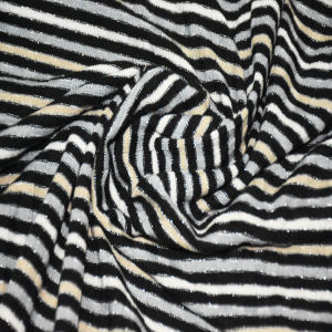 Polyester Lurex Spandex Stripe Rib Fabric for Clothing pictures & photos