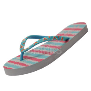 Printed Women Flip Flop with Rubber Ornament on The Upper