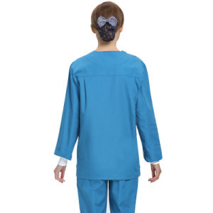 65%Cotton and 35%Polyester V-Neck Hospital Staff Scrubs Uniforms with Short-Sleeve pictures & photos