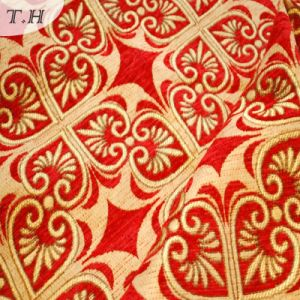 2017 Bright Red Jacquard High-Grade Sofa Cloth (FTH31615) pictures & photos