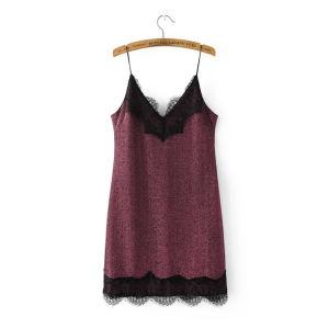Fashion Womenv-Neck Velvet Lace Matching Clothes Vest Blouse pictures & photos