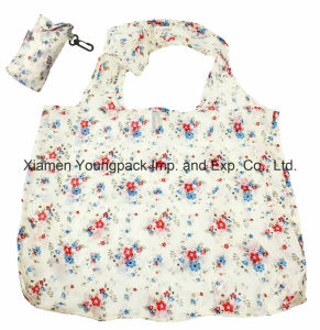 Customized Flower Design Nylon Fold up Shopping Bag in Pouch with Clip Attachment pictures & photos