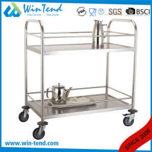 2 Tiers Round Tube Hand Push Moving Beverage and Water Bottle Service Trolley pictures & photos
