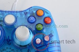 Double Vibration Wired Transparent Flash Game Controller for xBox360 pictures & photos