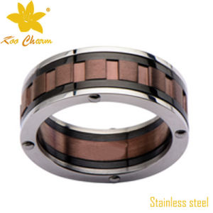 Str-011 Black with Gold Stainless Steel Wedding Rings for Women pictures & photos