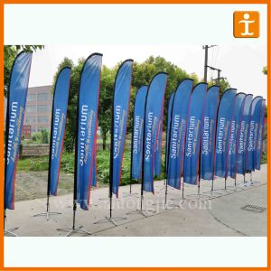 Customized Fiberglass Pole Teardrop Beach Feather Flying Flag (TJ-27) pictures & photos