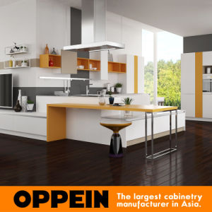 Oppein New Design Modern PVC Wood Grain Kitchen Cabinets (OP16-PVC03) pictures & photos