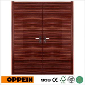 Oppein Double Leaf Lacquer Wood Veneer Entrance Door (MSPS01) pictures & photos