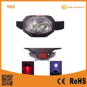 T03 1red LED + 2 LED Plastic Headlamp Traillight Camping Light Head Torch 3*AAA Battery Support Light pictures & photos