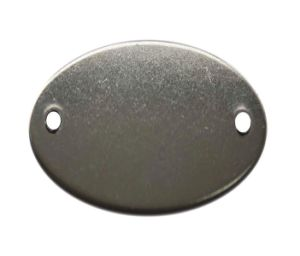 1′′ X1 7/8′′oval Aluminum Blank Tag with 2 Holes (20Y558)