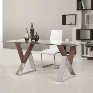 Glass Top Dining Table With Stainless Steel U0026 Wood Legs (A287)