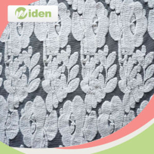 Red Floral Pattern Nylon and Poly Net Embroidery Lace Fabric pictures & photos