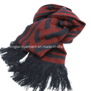 Acrylic Fashion Winter Warm Navy/Pink Grid Woven Scarf with Fringe pictures & photos