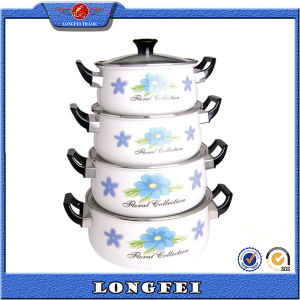 2015 Hot Selling 4PCS Enamel Cookware Casserole with Decal pictures & photos